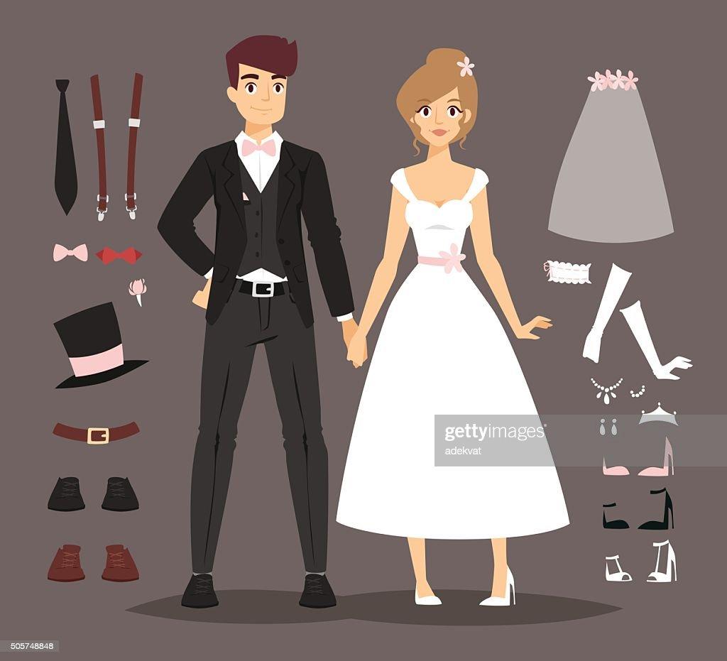 Cartoon wedding couple and ixons vector illustration