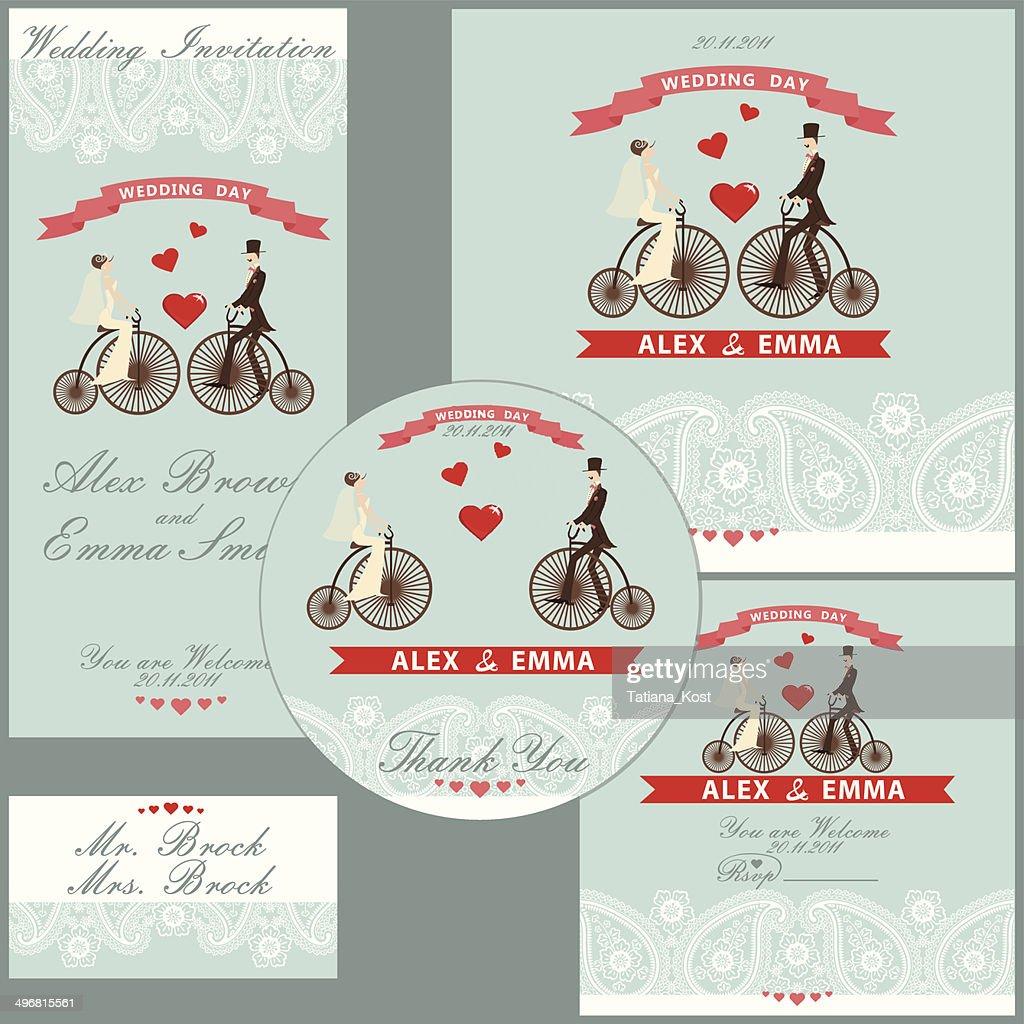Cartoon wedding couple on retro bike.Design  template set