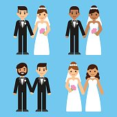 Cartoon wedding couples set