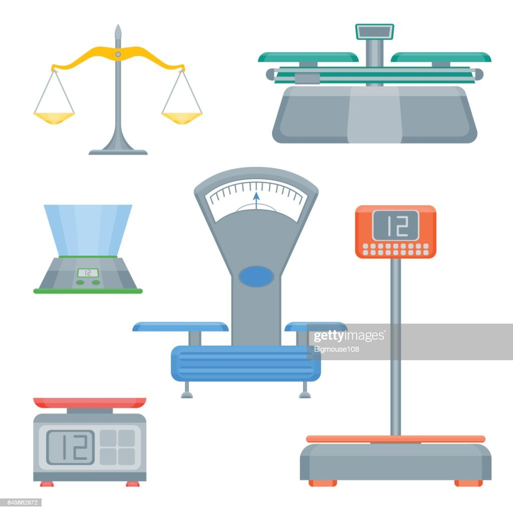 Cartoon Weight Scales Color Icons Set. Vector