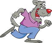 Cartoon werewolf running.