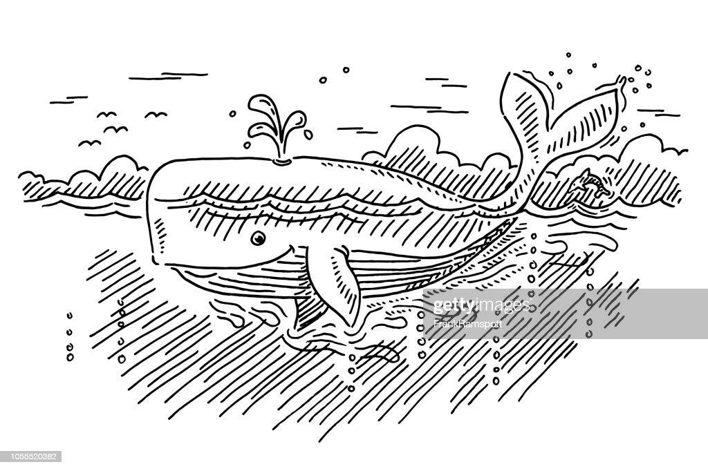 Cartoon-Wal In der Ozean-Zeichnung : Vektorgrafik
