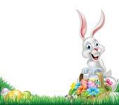 Cartoon White Easter Bunny Egg Basket