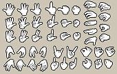 Cartoon white human hands in gloves gesture set