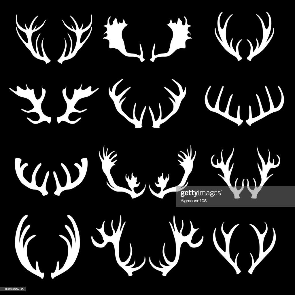Cartoon White Silhouette Deer Horns Set. Vector