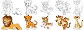 cartoon wild cats set