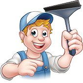 Cartoon Window Cleaner Squeegee Character