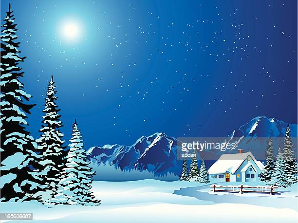 Cartoon Winter Landscape of Cottage Covered in Snow