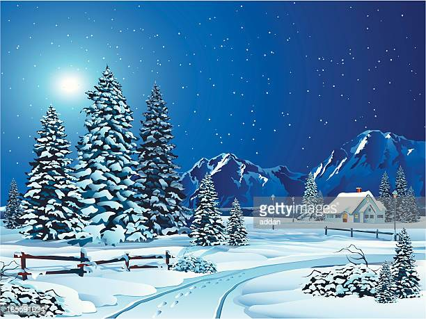 Cartoon Winter Landscape with Trees and Cottage in Distance