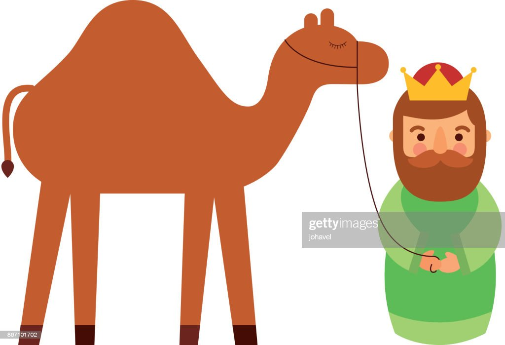 cartoon wise king with camel manger traditional