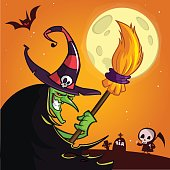 Cartoon witch with a broom. Halloween vector illustration isolated on scary night background with full moon and grim reaper on cemetary