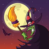 Cartoon witch with a broom. Halloween vector illustration isolated on scary night background with full moon. Poster or greetings card