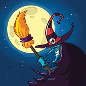 Cartoon witch with a broom. Halloween vector illustration