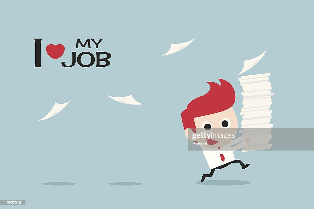 Cartoon with a redhead businessman happy in his job