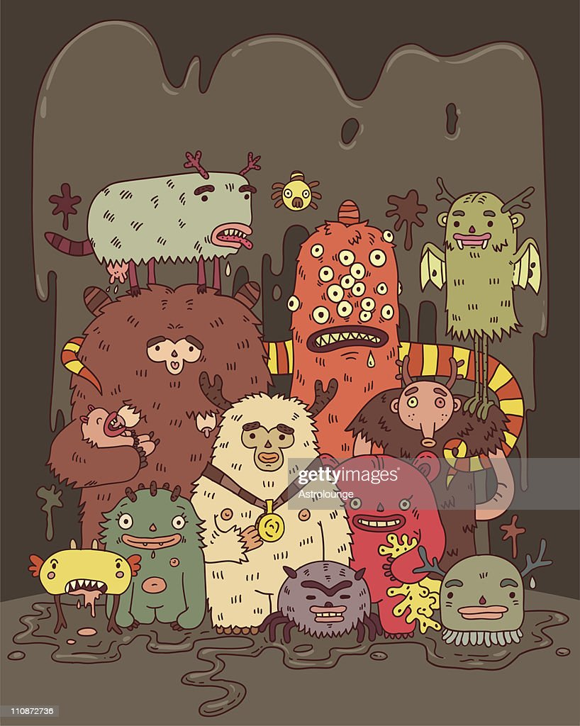 Cartoon with animated monsters