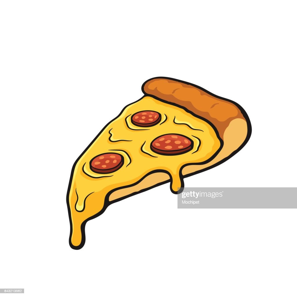 Cartoon with contour of pizza slice with melted cheese and pepperoni