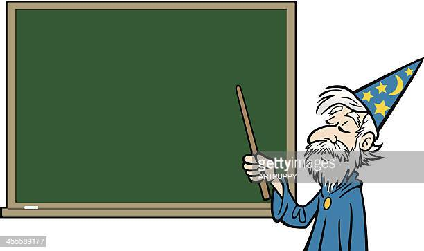 cartoon wizard at blackboard - wizard stock illustrations, clip art, cartoons, & icons