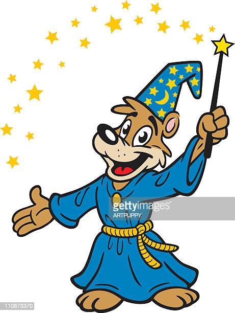 cartoon wizard bear - wizard stock illustrations, clip art, cartoons, & icons