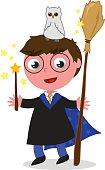 Cartoon wizard boy vector