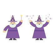 Cartoon wizard flat illustration
