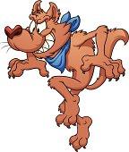 Cartoon wolf tiptoeing
