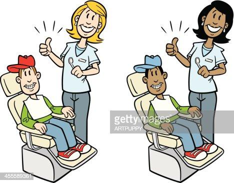 Cartoon Dentist With Child Vector Art