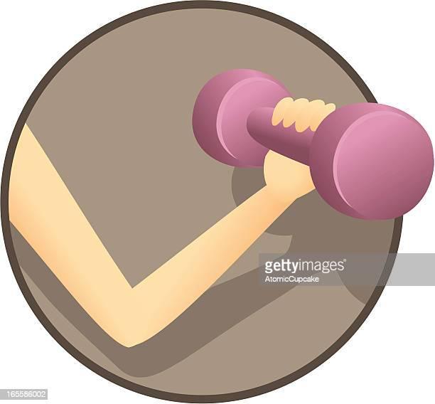 ilustraciones, imágenes clip art, dibujos animados e iconos de stock de mujer de historieta haciendo flexión de bíceps - entrenamiento con pesas