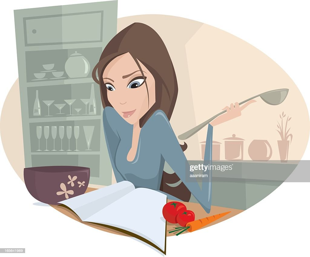 A cartoon woman in a kitchen making food
