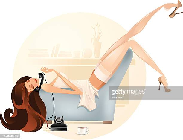 Cartoon Woman Lounging and Talking on Telephone