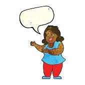 cartoon woman singing with speech bubble