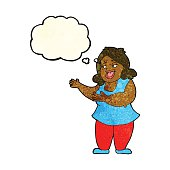 cartoon woman singing with thought bubble