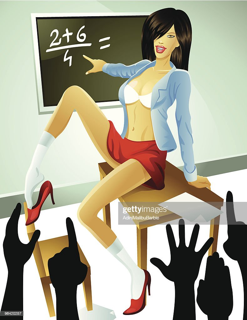 Cartoon Woman Wearing Bra and Short Skirt Teaching Eager Students : stock illustration