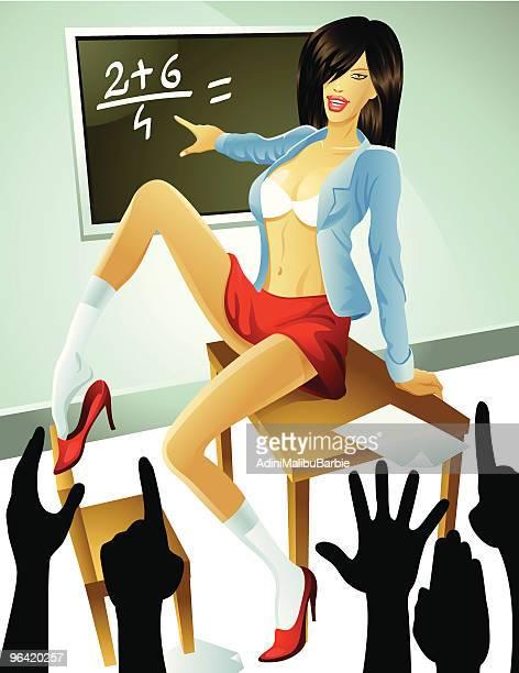 Femme en dessin animé portant soutien-gorge et Short-jupe enseigner heureux étudiants