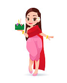 Cartoon Woman With Loy Krathong Festival, Culture in Thailand, Vector Illustration