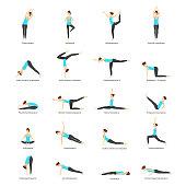Cartoon Woman Yoga Poses Icons Set. Vector