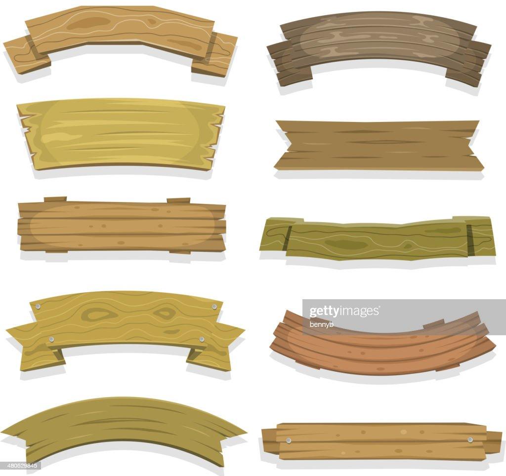Bannières en bois de dessin animé et rubans : Clipart vectoriel