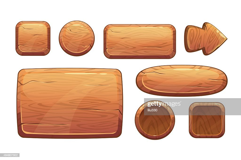 Cartoon wooden game assets