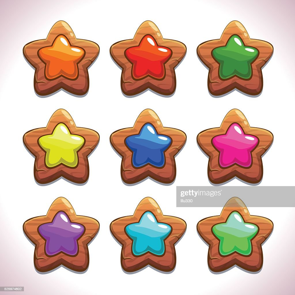 Cartoon wooden stars