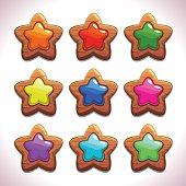 Cartoon wooden stars