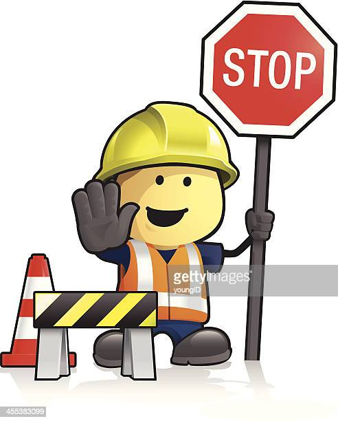 cartoon worker and stop sign - waistcoat stock illustrations, clip art, cartoons, & icons