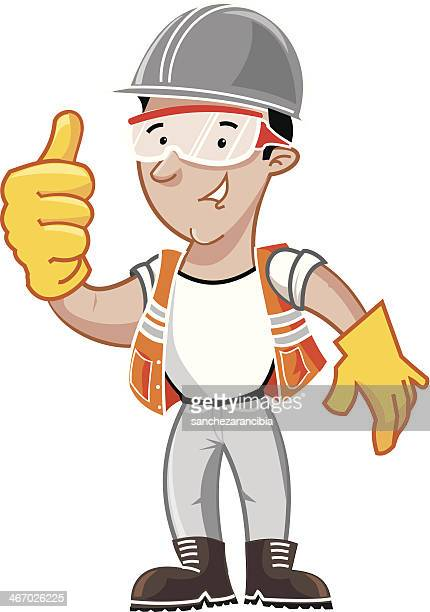 cartoon worker - security - protective workwear stock illustrations, clip art, cartoons, & icons