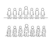 Cartoon working  little people stand in a row.