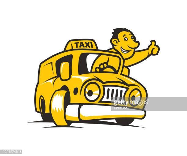 ilustraciones, imágenes clip art, dibujos animados e iconos de stock de dibujos animados de taxi amarillo con taxista - taxista