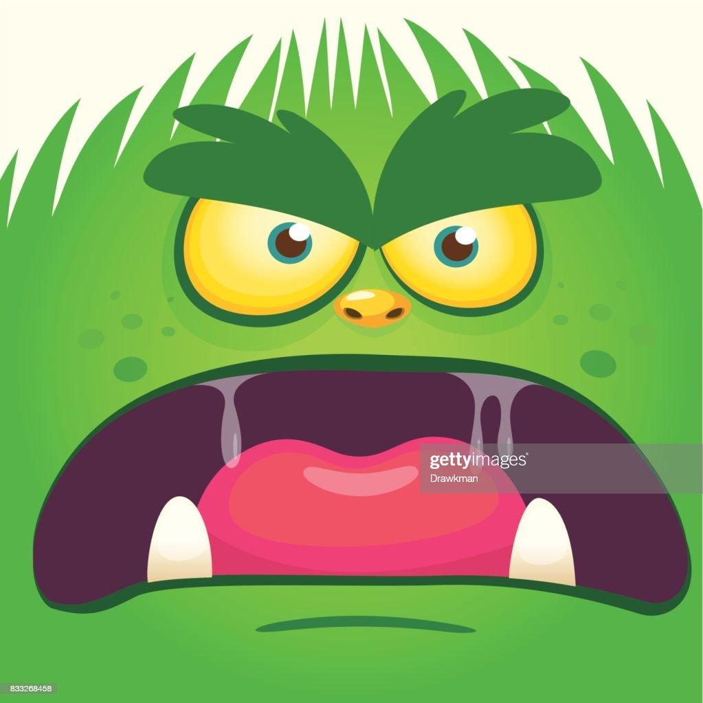 Cartoon yeti bigfoot face. Vector illustration of gremlin avatar