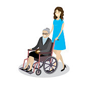 Cartoon young beautiful woman rolls  grandmother in wheelchair