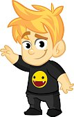 Cartoon young boy rock-n-roll fan. Vector illustration of  cute blond teenager in black clothes. Icon outlined