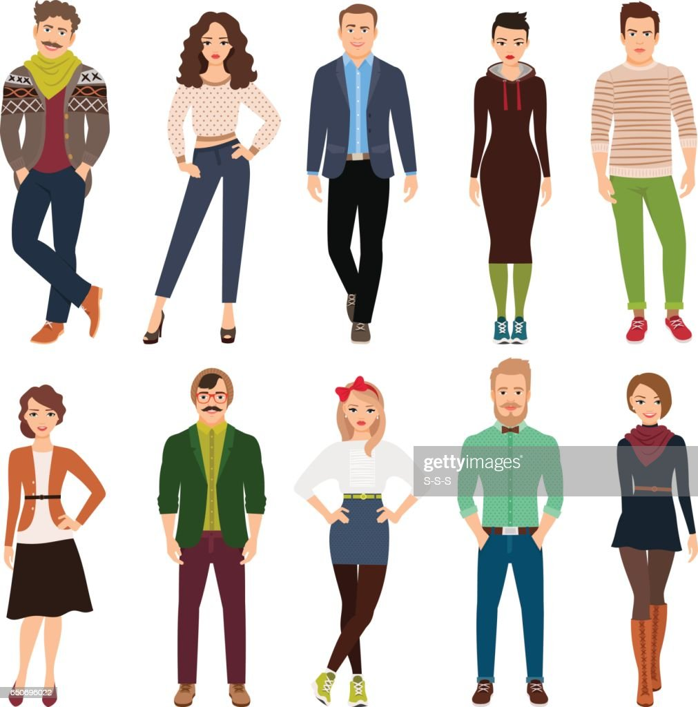 Cartoon young fashion people