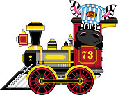 Cartoon Zebra and Western Steam Train