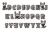 Cartoon Zebra font Lettering. Alphabet set