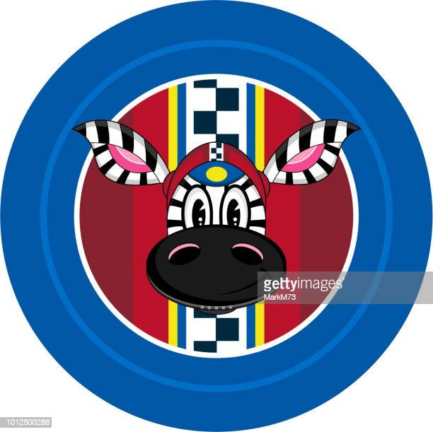 Cartoon Zebra Racing Car Driver